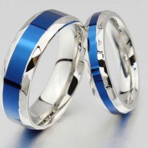 ThinBlue Line Police beveled Titanium wedding ring